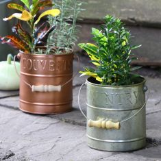 Set of Two Country Style Planter Buckets