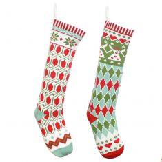 Set of 2 Geometric Pattern Christmas Stockings
