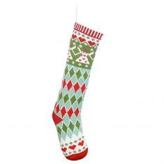 Knitted Argyle Diamond Christmas Stocking