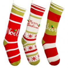 Set of 3 Candy Cane Striped Stockings