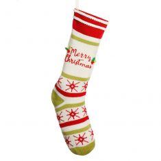 Merry Christmas Striped Christmas Stocking