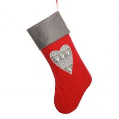Red Nordic Heart Knitted Christmas Stocking