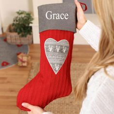 Personalised Red Nordic Heart Knitted Christmas Stocking