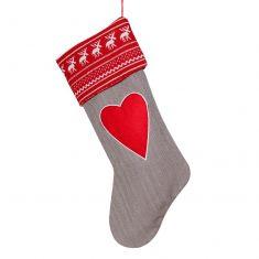 Grey Nordic Love Heart Christmas Stocking