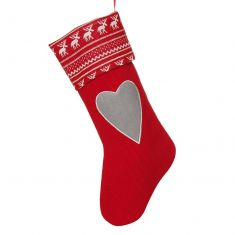 Red Nordic Love Heart Christmas Stocking