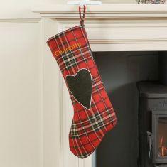 Personalised Tartan Love Heart Christmas Stocking
