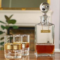 Contemporary Whisky Decanter & Gold Band Tumblers