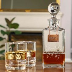 Personalised Whiskey Decanter with Diamond Embossed Tumblers