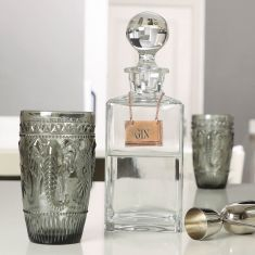 Gin Decanter with Copper Tag & Embossed Drinks Tumblers