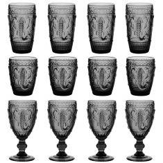 12pc Embossed Grey Elephant Glassware Set