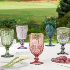 Bloom of Colour Embossed Wine Goblets