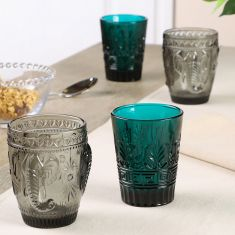 Set of 4 Colour Embossed Tumblers