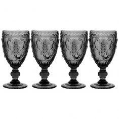 Set of 4 Embossed Elephant Grey Wine Goblets