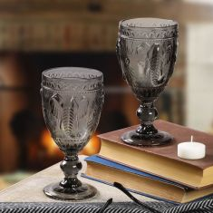 Set of 2 Grey Embossed Elephant Wine Goblets