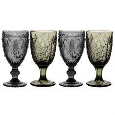 Set of 4 Green & Grey Embossed Wine Goblets