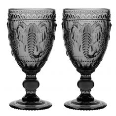 Set of 2 Grey Embossed Elephant Wine Goblets