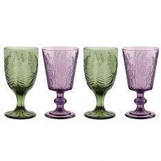 Set of 4 Botanical Coloured Wine Glasses