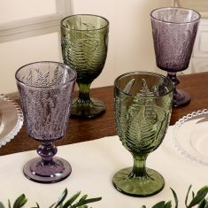 Set of 4 Botanical Coloured Wine Glasses
