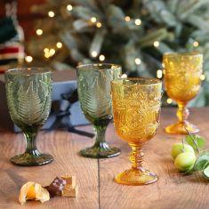 Set of 4 Botanic Embossed Wine Goblets