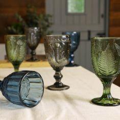 Set of 6 Vintage Style Embossed Green, Grey & Blue Wine Goblets