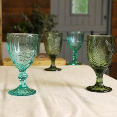 Set of 4 Vintage Style Green Embossed Wine Goblets