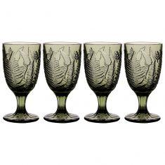 Set of 4 Embossed Leaf Green Wine Goblets