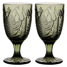 Set of 2 Botanic Green Leaf Goblets