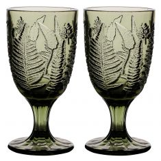Pair of Botanical Embossed Mulled Wine Glasses