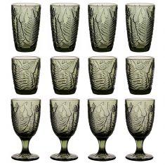 12pc Botanical Green Leaf Glassware Set
