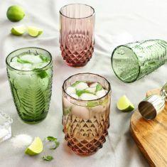 Set of 4 Embossed Botanical Cocktail Tumblers