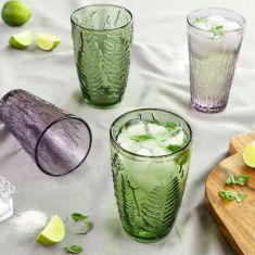 Set of 4 Botanical Leaf Highball Tumbler Glasses
