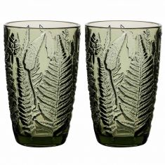 Set of 2 Embossed Leaf Green High Ball Glasses