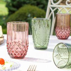 Set of 4 Embossed Summer Botanical Cocktail Tumblers