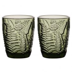 Set of 2 Embossed Leaf Green Tumblers
