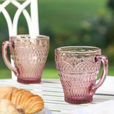 Set of 2 Embossed Pink Glass Mugs