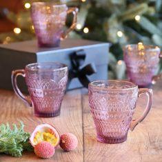Set of 4 Embossed Pink Glass Mugs