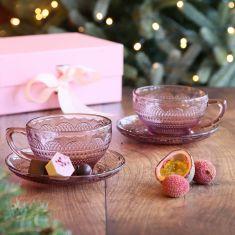 Set of 4 Pink Glass Teacups and Saucers