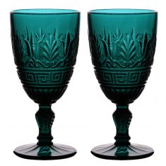 Set of 2 Deep Blue Art Deco Wine Goblets