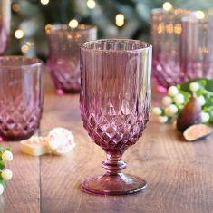 12pc Embossed Pink Diamond Glassware Set