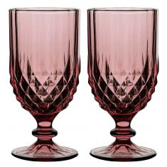 Set of 2 Pink Diamond Wine Goblets