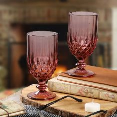 Set of 4 Diamond Pink Wine Goblets