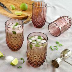 Set of 4 Diamond Pink High Ball Glasses