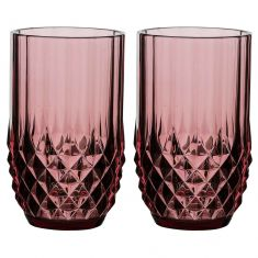 Set of 2 Diamond Pink High Ball Glasses