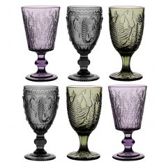Set of 6 Colour Embossed Wine Goblets