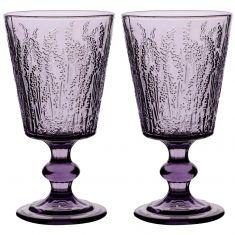 Pair of Embossed Purple Mulled Wine Glasses
