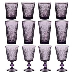 12pc Lavender Bloom Glassware Set