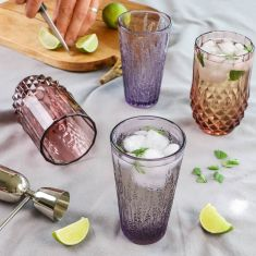 Set of Four  Embossed Cocktail Tumblers