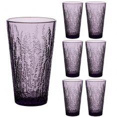 Set of 6 Lavender High Ball Tumbler Glasses
