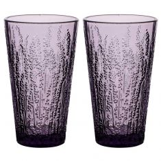 Set of 2 Lavender High Ball Glasses