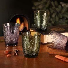 Set of 4 Botanical Leaf Tumbler Glasses